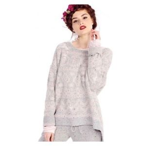 WILDFOX Pink Gray Venice Canal Shredded Sweater